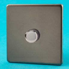 Varilight 1 Gang 1 or 2 Way 400W Push on/off Dimmer Light Switch Screwless Pewter/Slate Grey HDR3S